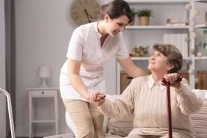 home care nurse with a patient