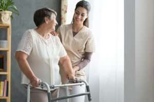home care nurse with patient