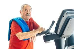 Senior man with Parkinson's exercising